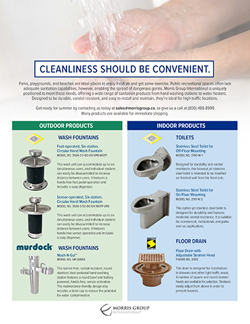 Hand Washing & Sanitary Plumbing Fixtures for Parks and Rec