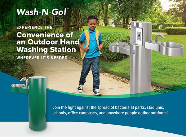 Wash-N-Go Outdoor Hand Washing Station & Drinking Fountain